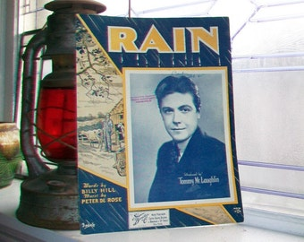 Vintage Sheet Music 1934 Rain by Tommy McLaughlin