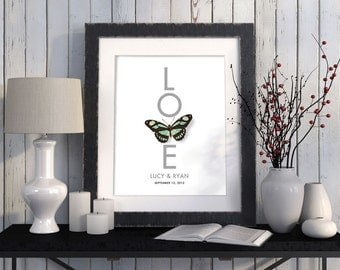 Spring Wedding Gift Butterfly Gift Idea Love Nature Sign Personalized Wedding Gift 11x14 Art Just Married Newlyweds Engagement Gift Couples
