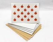 Watercolor Mandarin Orange Fruit Illustrated Blank Cards Set - 5 pieces