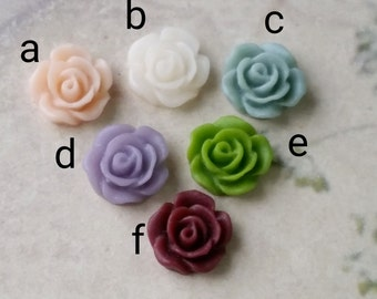 10 mm Mini Rose Resin Flower Cabochons of Assorted Colors (.sa) (zzb)