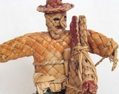RESERVED for Bechlerlandscape--Vintage Wicker Straw Man Bandito Riding Horse Mexican Folk Art Straw Figurine Original Paint Ethnic Art