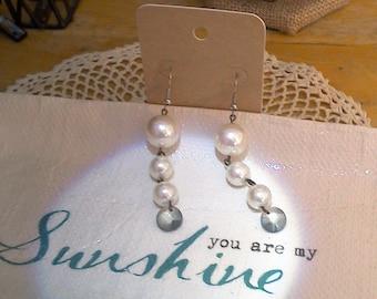 Faux Pearl Bead N Crystal Dangle Earrings