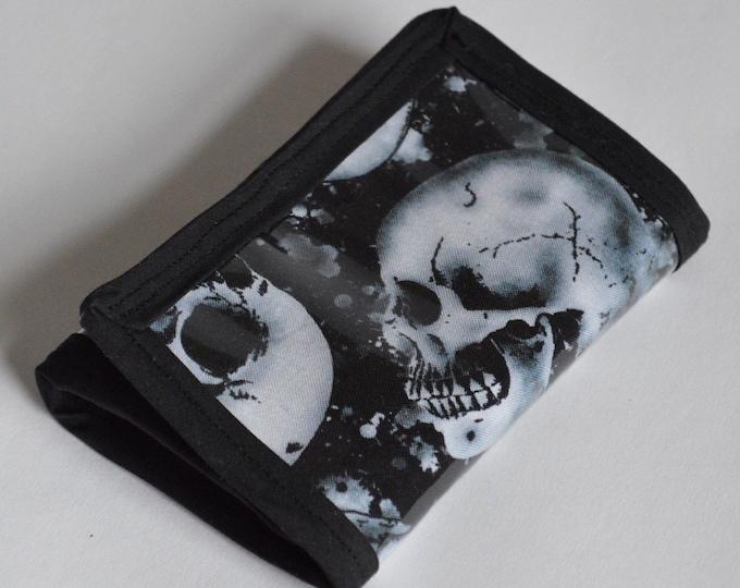 Handmade Unisex Skull Tri-Fold Wallet
