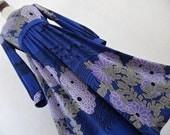 HANAE MORI . Peony In The Sapphire Night . Signed Print Kimono Colors Dress 70s S