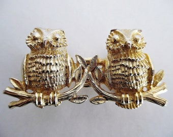 BABY OWLS . MiMi Di N . Signed Gold Metal Mimi Di Niscemi Belt Buckle 70s Bird Animal
