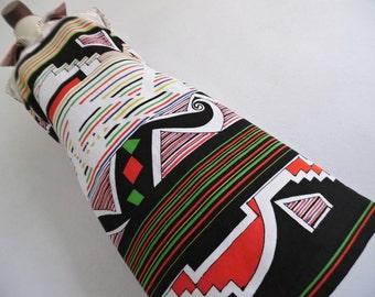 1DAY SALE :) ITALY . Mod Geometry . Primitive Art Print Midi Dress 60s M L Linen Blend