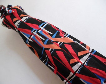 OVERLAPPING DECO . S . Striking Whimsical Colorful Print Maxi Dress Necktie Bow