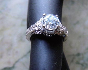 Diamond (faux) Engagement, Wedding Ring in Silver.