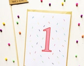 Custom Number Birthday Card - Colorful Sprinkles Birthday Card - Kids Birthday Card - Birthday Cards - Kraft Cardstock Envelopes