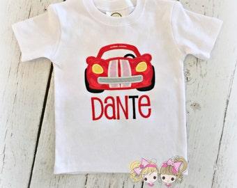 Boys Race car shirt - Racecar shirt - red race car birthday shirt - custom embroidered boys shirt with car