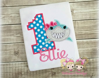 Shark birthday shirt - 1st birthday shark shirt - summer themed birthday shirt - personalized shark shirt - girls birthday shark shirt