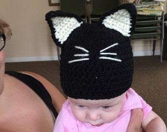 Black Cat hat 0-3 months