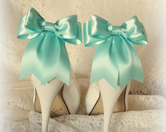 Aqua Blue Shoe Clips, Wedding Shoe Clips, Bridal Shoe Clips, Satin Bow Shoe Clips,  Shoe Clips for Wedding Shoes, Bridal Shoes, MANY COLORS