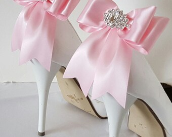 Light Pink   Wedding Shoe Clips,Bridal Shoe Clips,  MANY COLORS, Satin Bow Shoe Clips, Bridesmaids, Clips for Wedding Shoes, Bridal Shoes