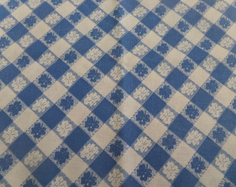"Feedsack Fabric -- Blue and White -- 1930's or 1940's -- 42"" x 34"""