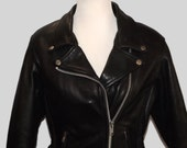Black Leather Motorcycle Riding Braided Leather Detial Zippers Snaps and Silver Studs Jacket LG Cambridge Int Size M Zip Out Lining