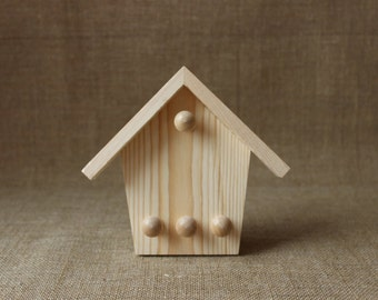 Wooden key holder / unfinished wood rack / wooden home decor / eco home decor / wooden house