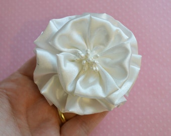 Off White Satin Flower with Center.  1 Piece.. NEW STYLE!!!!!