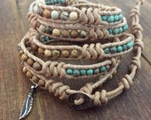 Genuine Turquoise and sterling silver feather beaded Leather Wrap bracelet artisan made original couture jewelry