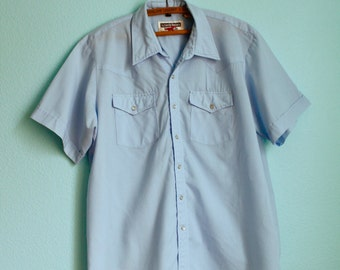 vintage 70s Mens Western short sleeved snap button baby blue summer shirt / Authentic Western Youngbloods / size large xlarge