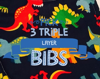 Bibs, baby, toddler, choose 3 Boys cotton prints and your choice of backing material. Triple layer moisture blocking design