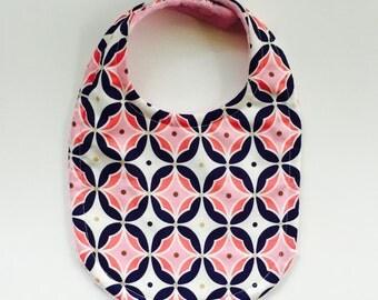 Baby Bib or Bandana Bib you choose Super Absorbent Triple Layer Bib in Navy Gold and Pink Print