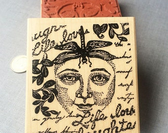 Lady Dragonfly Collage Rubber Stamp