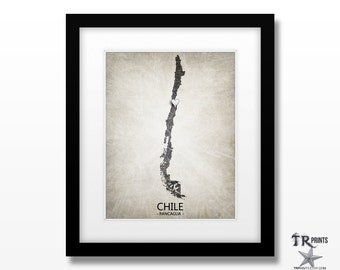 Chile Map Art Print - Home Is Where The Heart Is Love Map - Original Custom Map Art Print Available in Multiple Size and Color Options