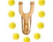 Wooden Slingshot with 12 Yellow Felt Ball Ammo - hunting slingshot, wooden slingshot, best slingshot, toy slingshot, wooden toy, camping