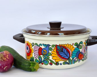 Vintage enamel folklore pattern pan, flower pattern, cooking pan, cooking pot