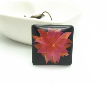 4pcs 25mm Square Photo Glass Cabochon Domes - Flower