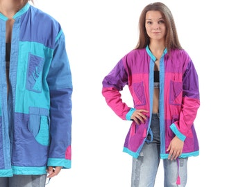 Patchwork Jacket 80s Boho Vintage Reversible Bohemian Cotton Hand Made Coat Open Front Purple Pink Blue Pockets Baggy Anorak Jacket XL