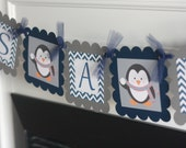 "Penguin Winter Theme Grey & Navy Chevron ""It's a Boy"" Baby Shower Banner - Ask About Our Party Pack Special"