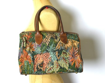 Vintage  Leather Handles Safari Tapestry Speedy Satchel