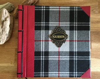 antique style tartan & leather guest book