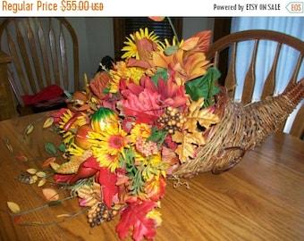 ON SALE Thanksgiving Cornucopia Floral Centerpiece