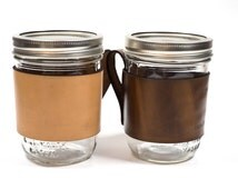 Leather Mason Jar Handle for Wide Mouth Pint Jar Ball / Kerr
