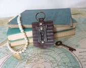 Vintage escutcheon // Leather key chain // Key Fob // Purse charm // Luggage tag // Bridesmaid gift // Ready to ship