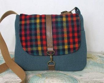 Westwood - Crossbody messenger bag // Vintage wool // Adjustable strap // Plaid // Fall purse // Travel purse //Blue // Ready to ship