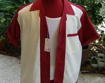 Handmade 1950's Style Mens Rockabilly, Vintage, Bowling Shirt Burgundy & Cream Shirt