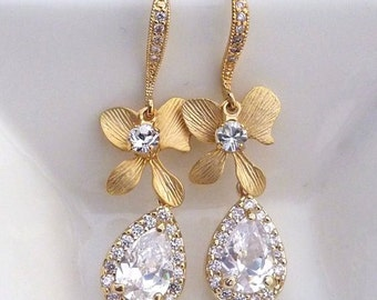 High Quality White Clear CZ Teardrop, Orchid Flower with Yellow Gold Plated CZ Earrings