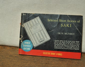 1930 Armed Services Edition Book - Saki short stories by H H Munro-  Overseas Edition - Books in Wartime - WWII - Pocket Book