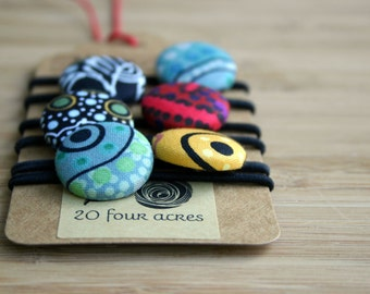 Pony Tail Holders - Set of 6 , Hair Button Elastic, Hair Tie - Mixed Aboriginal Cotton Fabrics - Snag Free Elastics