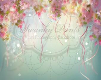 SWANKY PRINTS 4ft x 4ft  Vinyl Photography Backdrop / Rose Streamers / NEW