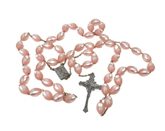 Vintage Wall Rosary with Pink Moonglow Lucite Beads // Extra-Large 4-1/2 Feet Oversized Rosary // Mid-Century Catholic Home Decor
