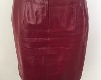 Vintage 80s High Waisted Leather Pencil Skirt