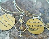 Zombie Apocalypse Bracelets - Best Friend Bracelets - Sisters Bracelets - Zombie Apocalypse Partners - Halloween Bracelets - Walking Dead