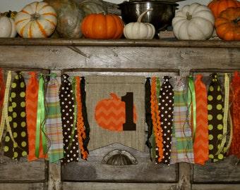 Fall pumpkin first birthday highchair fabric rag banner garland, I am 1 one photo prop, Autumn birthday party decoration