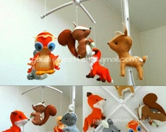 Ready to go / Enchanted Forest crib  musical mobile / woodland animals / 3D woodland animals mobile / nursery decor / babyroom decor