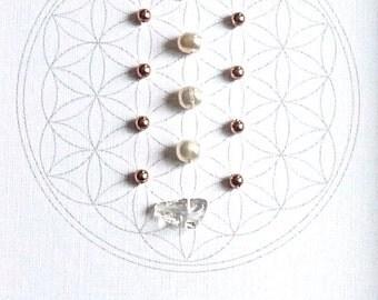 JUNE BIRTHSTONE GRID --- framed crystal grid --- pearl, copper, clear quartz --- flower of life